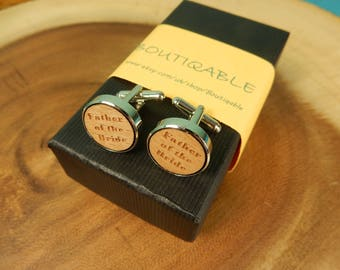 Father of the Bride Cufflinks, Father Gift, Wedding Cufflinks, Wooden Cufflinks