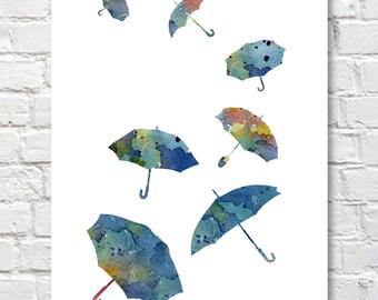 Blue Umbrellas Art Print - Abstract Umbrella Watercolor Painting - Wall Decor