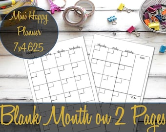 Undated Month on 2 Pages Mini Happy Planner Printable Inserts, Recollections Planner Insert, Mambi Mini, MO2P - INSTANT Download