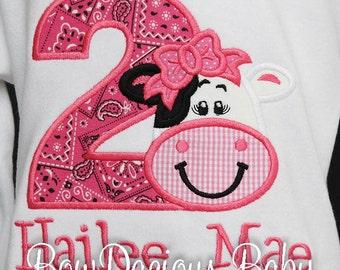 Girls Cow Birthday Shirt, Girl Farm Birthday Shirt, Pink Cow Birthday Shirt, Gingham, Cow Party, Bandanna, Custom, Any Age, Cow 1st Birthday