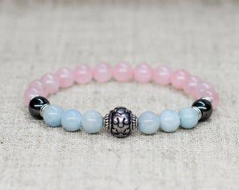 Aquamarine bracelet Aquamarine jewelry Rose quartz jewelry Zodiac jewelry Aries jewelry Zodiac bracelet Aries birthstone bracelet Gemstone