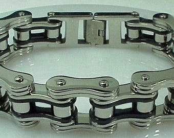 "9.5"" Biker Chain Bracelet Black Silver Heavy Metal Skull Bones Harley Bad Apple"