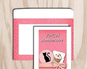 Birthday card and envelope digital print - cat with pink cupcake figure