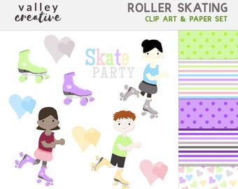 Roller Skating - Hearts - Retro - Digital Clip Art Set - 300 DPI - Instant Download