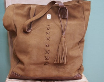 Brown suede shoulder bag, genuine leather bag, tassel bag, women bag, leather shopping Bag, urban bag, handmade bag, greece.