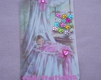 Card made baby - congratulations - handmade white envelope