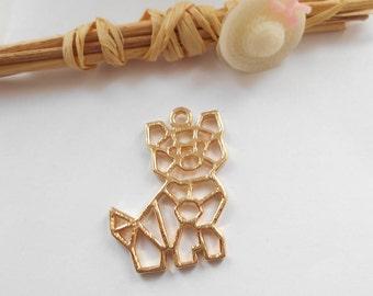 1 origami cat pendant Gold 30 x 24 mm
