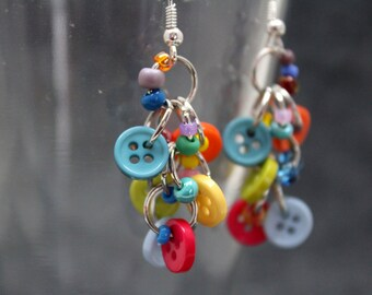 Button Dangle Earrings - Bright Colorful Multicolored Rainbow by randomcreative on Etsy