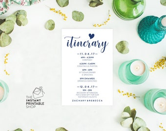 Itinerary template, Wedding itinerary cards, Printable itinerary card, Editable pdf, Instant download, Navy wedding stationery