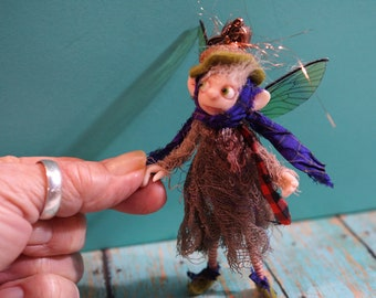 ooak poseable ... woodland Tinker PIXIE fairy ( #77 ) Dinky Darlings polymer clay art doll elf faery minature