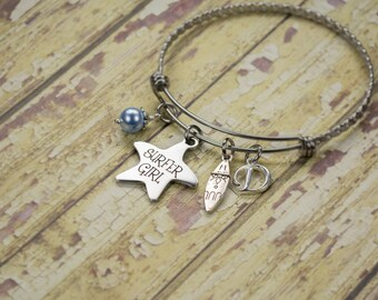 Personalized Birthday Gift for Surfer - Engraved Custom Summer Charm Bracelet - Surfer Girl Jewelry - Beach Jewelry - Surfboard Bracelet  91