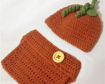 Crochet Baby Pumpkin Outfit, Baby Photo Prop Pumpkin Hat and Diaper Cover