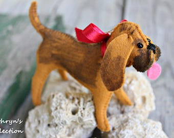 Bloodhound Ornament, Bloodhound Keepsake, Dog Ornament, Hand-sewn felt dog ornament