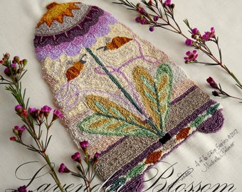 Lavender Blossom Flower Skep Hive Bombus Honeybee Bumble Punch Needle Embroidery DIGITAL Jpeg PDF PATTERN Michelle Palmer Painting w/Threads