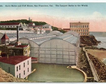 Sutro Baths Cliff House San Francisco California 1910c postcard