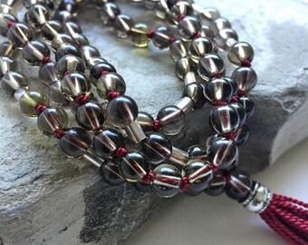 Smoky Topaz Mala Prayer Beads