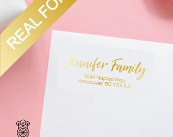 15PCS Gold Foil Return Address Labels / Gold Foil label / Bridal address labels / Self-Adhesive Label / Wedding Labels (GRL004)