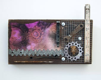 Recycled Assemblage Art - Wood Wall Art - Found Object Art