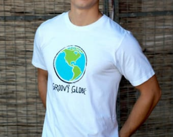 Groovy Globe Men's 100% Organic Cotton t-shirt