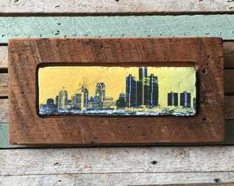 Detroit Slyline on Brick Face in Historic Detroit Reclaimed Wood Frame, Original Artwork Print wall hanging or shelf accent piece