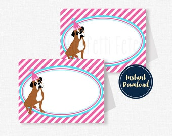 Dog Buffet Cards, Place Cards, Boxer Food Labels, Puppy Party Decorations, Dog Birthday, Printable INSTANT DOWNLOAD