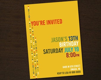 Modern Geometric Party Invitation - DIY printable PDF file