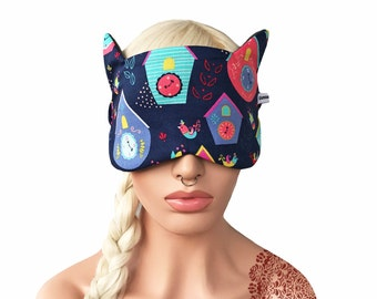 Sleep Mask Sleeping Mask with Cat Ears Clock