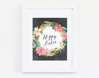 Happy Easter Art Print, Home Decor, Easter Decor, Holiday Art - Wreath Art Print, Floral Wall Art - Instant Download