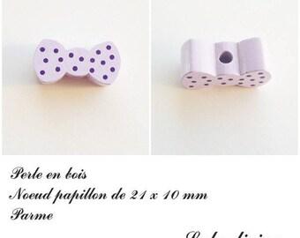 Wood 21 x 10 mm bead, Pearl flat bow tie: Parma