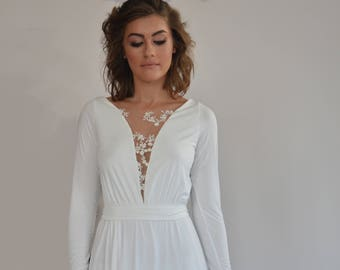 Simple wedding dress floor length,embroidery flowers at the top boho wedding dress, long sleeve wedding dress, comfortable wedding dress