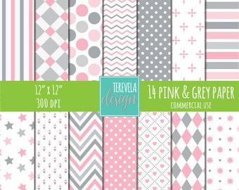50% sale pink & gray digital paper, commercial use, paper pack, web design, gray/pink paper, scrapbook paper, instant download, background