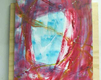 Abstract painting in layers - original - on paper - pink red blue depth