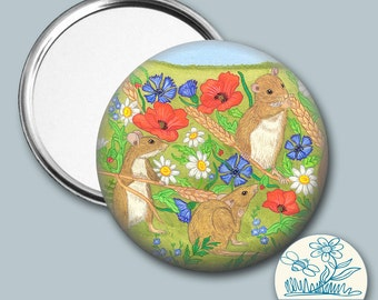 Mice in a field of cornflowers and poppies illustrated - Pocket Mirror