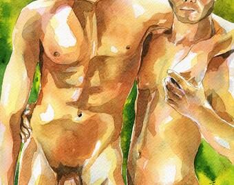 "Print of Original Artwork Watercolor Painting Erotic Male Man Nude Gay ""Come here"""