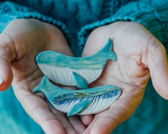 Turquoise whale -  semi porcelain brooch - whale brooch - ceramic whale
