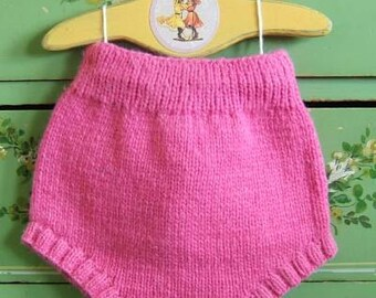 Pink Wool Soaker Cloth Diaper Cover Hand Knit Woolen Nappy Cover Overnight by Llamajama