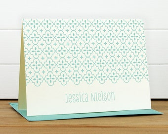 QUATREFOIL Personalized Stationery Set - Personalized Stationary Set - Custom Personalized Notecard Set - Pretty Modern Blue Gift
