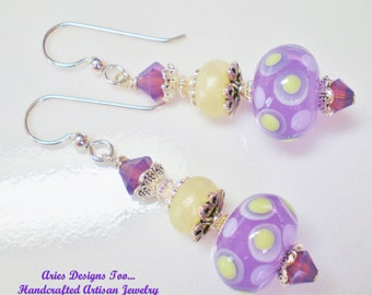 Violet and Yellow Polka Dotted Lampwork Earrings, Short Violet and Jonquil Drop Earrings