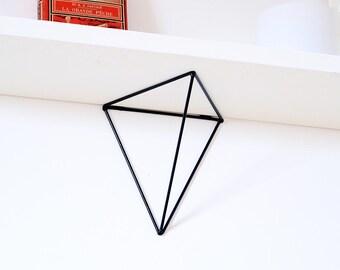 Set of two wall brackets,shelf brackets,wall shelf,powder coated steel,black color,model BF01,triangular shape,minimalist style