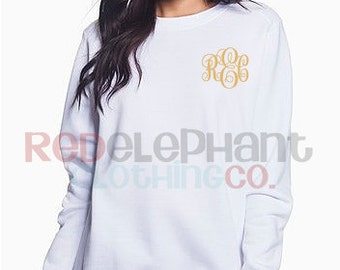 Personalized Bridesmaid Gift, Monogrammed Sweatshirt, Monogrammed Pullover Sweatshirt, Monogram long sleeve, monogram shirt,