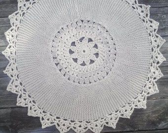 """Cotton Dark Linen Crochet and Knit Rug 30"""" READY to SHIP"""