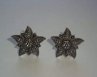 GORGEOUS Marcasite Flower Petal Clip Earrings