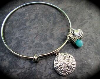 Sand Dollar Adjustable Wire Bangle Bracelet with Aquamarine Jade charm Beach theme bracelet Summer jewelry Beach jewelry