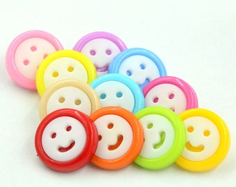 100 pcs Round Plastic Buttons,Small Plastic Buttons,Buttons For Child,15mm*15mm(143-12)