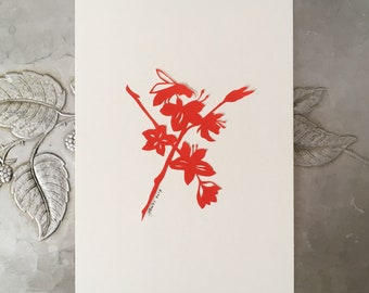 Spring Blossom and Bee Papercutting in Red