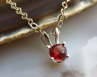 Silver Garnet Necklace - Red Stone Necklace - January Birthstone