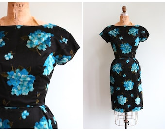 Vintage 1950's Black and Blue Silk Hydrangea Dress | Size Extra Small