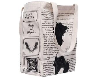 Pride and Prejudice Book Tote - Jane Austen, Tote Bag, Literary, Book Lover, Books, Literature, Teacher Gift, Gift for Reader