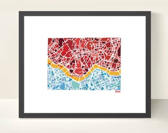 Seoul South Korea City Map - Original Illustration Print
