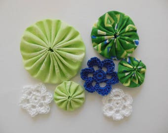 Yo-Yos and Crocheted Flowers - Green, Blue and White - Cotton Appliques - Cotton Embellishments